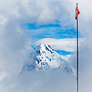 A glimpse of the top of the Eiger (3,967-metre / 13,015 ft). Looking over from the top of Piz Gloria on the summit of the Schilthorn at 2970m - 9744ft (the mountain hideaway in James Bond OHMSS)