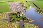 Nederland, Friesland, Gemeente Gaasterlan-Sleat, 16-04-2012; Wielpolder, tussen Warns en Bakhuizen. Landhuis in quasi klassiek Friese stijl, toren met zadeldak. .Quasi-classical mansion in Frisian style..luchtfoto (toeslag), aerial photo (additional fee required).foto/photo Siebe Swart