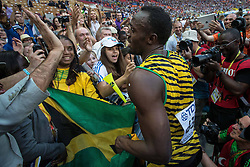 17.08.2013, Luzhniki Stadion, Moskau, RUS, IAAF Leichtathletik Weltmeisterschaft, im Bild Usain Bold nach dem Final Sprint auf 200 m // Usian Bold after the 200m final during the IAAF world athletics championships at Luzhniki stadium in Moscow, Russia on 2013/08/17. EXPA Pictures © 2013, PhotoCredit: EXPA/ Newspix/ Kamil Jozwiak<br /> <br /> ***** ATTENTION - for AUT, SLO, CRO, SRB, BIH, TUR, SUI and SWE only *****