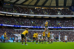 Australia Number 8 (#8) Ben Mowen (ACT Brumbies, capt) wins a lineout during the second half of the match - Photo mandatory by-line: Rogan Thomson/JMP - Tel: Mobile: 07966 386802 02/11/2013 - SPORT - RUGBY UNION -  Twickenham Stadium, London - England v Australia - Cook Cup - QBE Autumn Internationals.