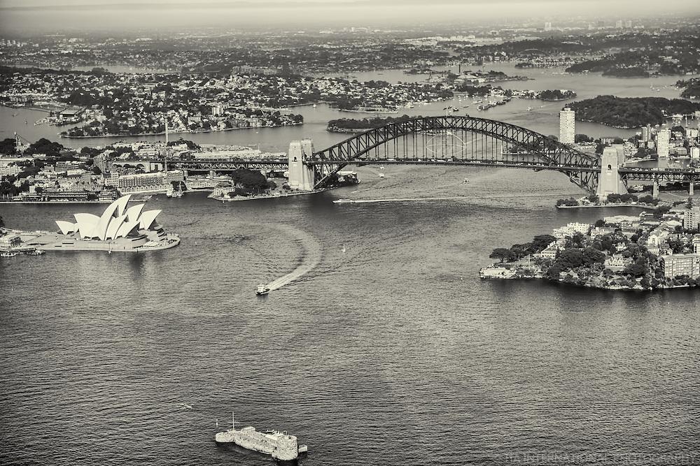 Sydney Harbour featuring Harbour Bridge, Opera House & Fort Denison (monochrome)