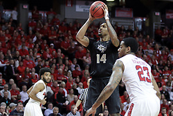 20 March 2017:  Nick Banyard at the charity stripe during a College NIT (National Invitational Tournament) 2nd round mens basketball game between the UCF (University of Central Florida) Knights and Illinois State Redbirds in  Redbird Arena, Normal IL