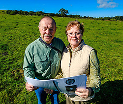 American couple make 6000 mile trip to Strathaven to trace family history and link with 1943 air crash<br /> <br /> Barry and Vicki Graham from Yankton, South Dakota on a family history visit to Scotland are taken to the site of the 1943 B-17 crash in Strathaven, Lanarkshire.  Vicki's Uncle Mearl C Waswick was the tail gunner on the Flying Fortress.  They were shown the site by 84 year old Archie Watt who witnessed to crash aged 11 years old.<br /> <br /> (c) Andrew Wilson | Edinburgh Elite media