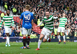 Celtic's Callum McGregor celebrates after scoring the second goal during the William Hill Scottish Cup semi final match at Hampden Park, Glasgow.