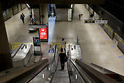 As the UK's Conornavirus pandemic lockdown continues, but with travel restrictions and social distancing rules starting to ease after three months of closures and isolation, Transport for London is following the government's call for face coverings to be worn on all public transport from June 15th next week, on a platform at London Underground's Canary Wharf station, on 9th June 2020, in London, England.