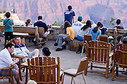 10 AUGUST 2003 -- GRAND CANYON NATIONAL PARK, AZ: Tourists on the porch of the Grand Canyon Lodge on the north rim of the Grand Canyon National Park in northern Arizona.  PHOTO BY JACK KURTZ