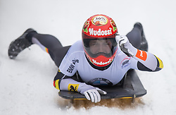 20.02.2016, Olympiaeisbahn Igls, Innsbruck, AUT, FIBT WM, Bob und Skeleton, Damen, Skeleton, 4. Lauf, im Bild Tina Hermann (GER, Goldmedaille) // Gold medalist and Worldchampion Tina Hermann of Germany reacts after women Skeleton 4th run of FIBT Bobsleigh and Skeleton World Championships at the Olympiaeisbahn Igls in Innsbruck, Austria on 2016/02/20. EXPA Pictures © 2016, PhotoCredit: EXPA/ Johann Groder
