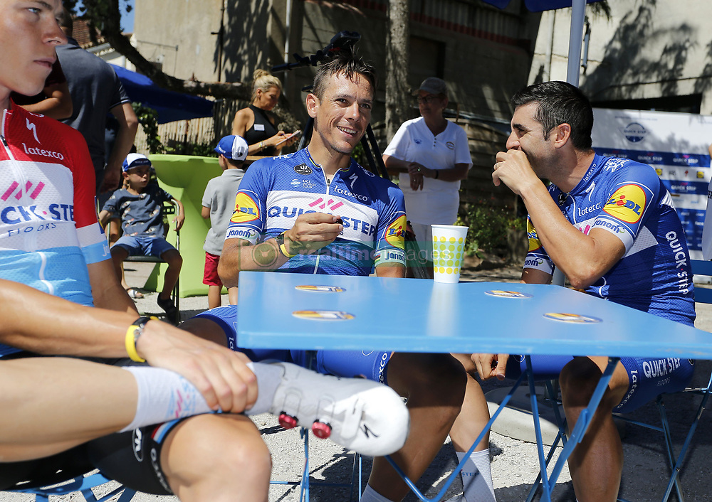 July 23, 2018 - Carcassonne, France - CARCASSONNE, FRANCE - JULY 23 : GILBERT Philippe (BEL) of Quick - Step Floors & RICHEZE Maximiliano Ariel (ARG) of Quick - Step Floors during the second restday of the 105th edition of the 2018 Tour de France cycling race on July 23, 2018 in Carcassonne, France, 23/07/2018 (Credit Image: © Panoramic via ZUMA Press)