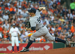 April 30, 2018 - Houston, TX, U.S. - HOUSTON, TX - APRIL 30:  New York Yankees starting pitcher Sonny Gray (55) throws a pitch during the baseball game between the New York Yankees and Houston Astros on April 30, 2018 at Minute Maid Park in Houston, Texas.  (Photo by Leslie Plaza Johnson/Icon Sportswire) (Credit Image: © Leslie Plaza Johnson/Icon SMI via ZUMA Press)