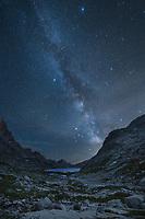 Milky Way over Upper Titcomb Basin, Bridger Wilderness, Wind River Range Wyoming