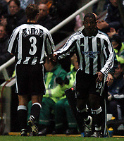 Fotball<br /> UEFA Cup 2004/2005<br /> Foto: BPI/Digitalsport<br /> NORWAY ONLY<br /> 04.11.2004<br /> <br /> Newcastle v Dinamo Tblisi<br /> <br /> Titus Bramble comes on for Robbie Elliott after a long injury lay off