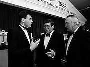 8/01/1989<br /> 01/18/1989<br /> 18 January 1989<br /> Texaco Sportstars of the Year Awards 1988 at the Burlington Hotel, Dublin. At the event were Packie Bonner (Goalkeeper Ireland and Celtic); Mr. Ray Burke T.D., Minister for Industry and Commerce and Mr. Vincent O'Brien, Managing Director of Texaco (Ireland) Ltd.