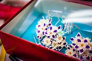 JAPAN, TOKYO, April 2013 - Emi Wakita, a young woman who define her style between scary and cute during the makeup time. She use white rice powder as the geisha, blue lips, long false lash, red feather arround the eyes and two differents wigs [FR] Emi wakita, une jeune femme définissant son style entre le mignon et l'effrayant en séance de maquillage. Elle se farde de blanc avec la poudre de riz comme le font les geisha, ses levres sont bleues, elle porte des faux-cils et des plumes rouge au contour des yeux ainsi que deux perruques.