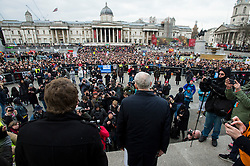 © Licensed to London News Pictures. 26/02/2016. London, UK. Leader of the labour party JEREMY CORBYN  (centre) speaks to crowds at a CND (Campaign for Nuclear Disarmament) rally in central London on February 27, 2016. Corbyn has been criticised for publicly supporting the CND campaign while Labour Party policy  backs the renewal of Trident nuclear programme. Photo credit: Ben Cawthra/LNP