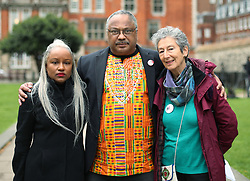 """Deborah Hobson of Grassroots Black Left and Noami Wimborne-Idrissi, Jewish Voice For Labour (right), with Labour party activist Marc Wadsworth in Westminster, London, after he was expelled from the party following a hearing by Labour's disciplinary body which found his behaviour had been """"grossly detrimental to the party""""."""