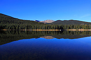The deep blue water of Echo Lake, along the Mt Evans Rd, Rocky Mountains, Colorado, USA