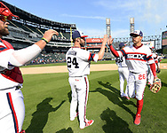 CHICAGO - SEPTEMBER 03:  Matt Davidson #24 and Avisail Garcia #26 of the Chicago White Sox celebrate after the game against the Tampa Bay Rays on September 3, 2017 at Guaranteed Rate Field in Chicago, Illinois.  (Photo by Ron Vesely) Subject:   Matt Davidson; Avisail Garcia