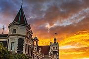 Sunset over the Dunedin Railway Station, Dunedin, South Island, New Zealand