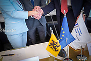 Brussels , 12/04/2019<br /> Press moment regarding the official signing of the first financing contract for the Oosterweel connection .<br /> Pix : Lydia Peeters/ Ben Weyts / Luca Lazzaroli <br /> Credit : Daina Le Lardic / Isopix
