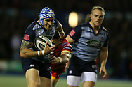 Tom James of Cardiff Blues. Guinness Pro14 rugby match, Cardiff Blues v Dragons at the Cardiff Arms Park in Cardiff, South Wales on Friday 6th October 2017.<br /> pic by Andrew Orchard, Andrew Orchard sports photography.