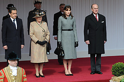 Buckingham Palace has announced Prince Philip, The Duke of Edinburgh, has passed away age 99 - FILE - French President Nicolas Sarkozy, Queen Elizabeth II, Carla Bruni-Sarkozy and Duke of Edinburgh watch ceremonial welcome at Windsor Castle, UK, on March 26, 2008. Photo by Jacques Witt/Pool/ABACAPRESS.COM.