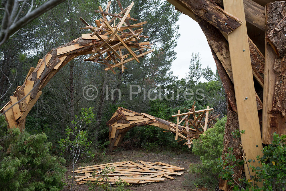 The artwork entitled Garden by the artist Elparo on the sculpture park trail, on 22nd May, 2017, in Mayronnes sculpture park, Languedoc-Rousillon, south of France.