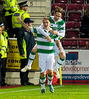28/10/15 SCOTTISH LEAGUE CUP QUARTER-FINAL<br /> HEARTS v CELTIC<br /> TYNECASTLE - EDINBURGH<br /> Celtic's Leigh Griffiths (left) celebrates his goal with team-mate Stefan Johansen