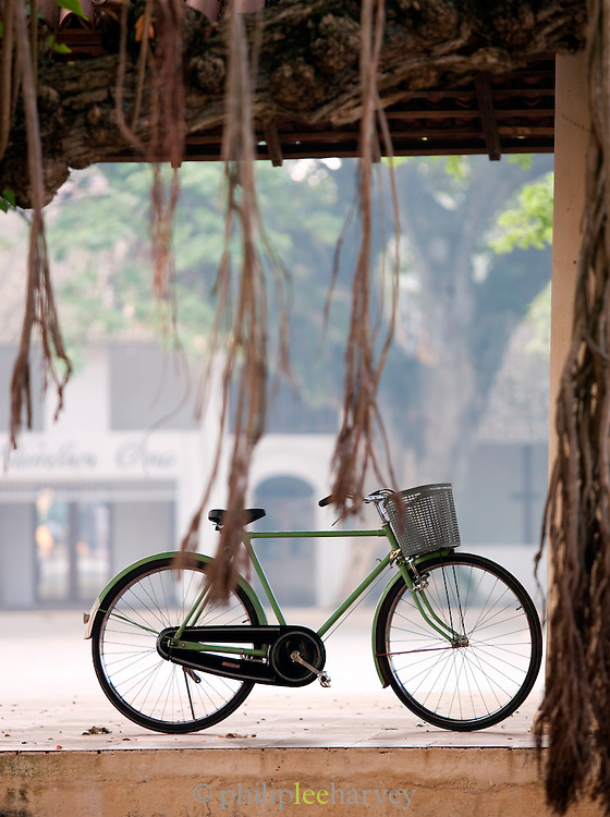 A bicycle parked in the shade of a hut in Galle, Sri Lanka