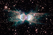 The Ant Nebula, whose technical name is Mz3, located between 3,000 and 6,000 light years from Earth in the southern constellation Norma. Hubble Space Telescope (HST).