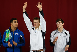 Jack Haslam of City of Sheffield Diving Club is introduced ahead of the Mens 3m Springboard Final as brother Ross (R) looks on - Photo mandatory by-line: Rogan Thomson/JMP - 07966 386802 - 21/02/2015 - SPORT - DIVING - Plymouth Life Centre, England - Day 2 - British Gas Diving Championships 2015.