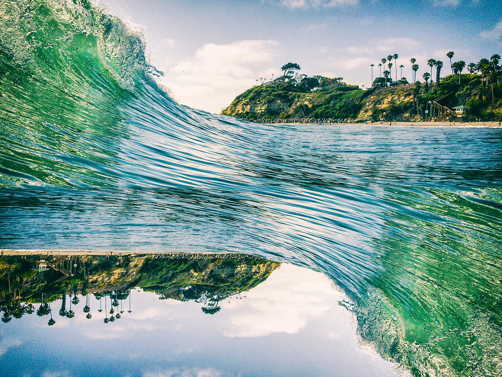 Wave breaking at Swami's Beach during the day in Encinitas, San Diego, California. Abstract Seascape Edit.