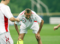 Photo: Chris Ratcliffe.<br />England Training Session. FIFA World Cup 2006. 28/06/2006.<br />Peter Crouch in training.