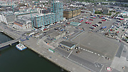 Aerial Still images around Dublin Port during COVID 19 lockdown, Stenna, CLdN, P&O, Cobbelfreight, Tolka Quay, Alexander Rd, Terminal 1,2 ,3, River Liffey, EXO, Building, East Link, Bridge, River Liffey, Samual Beckett Bridge, Capitol Dock, North Quay, Wall, Gibson Hotel, Point Depot, 3 arena,