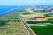 Nederland, Groningen, Gemeente  De Marne, 05-08-2014; Zevenboerenpolder, Julianapolder en Negenboerenpolder, ontstaan door de inpoldering van de nabijgelegen kwelders van de Waddenzee. Landaanwinning Lutjewad en Pieterburenwad, waterschap Noorderzijlvest.<br /> Polders, reclaimed from the nearby Wadden Sea.<br /> <br /> luchtfoto (toeslag op standard tarieven);<br /> aerial photo (additional fee required);<br /> copyright foto/photo Siebe Swart