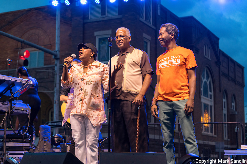 L-R Congresswoman Terri Sewell, D-AL, Birmingham Mayor William Bell,  and Brent Leggs, National Trust for Historic Preservation