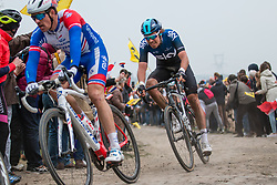 Luke Rowe (GBR) of Team Sky (WT) during the 2019 Paris-Roubaix (1.UWT) with 257 km racing from Compiègne to Roubaix, France. 14th april 2019. Picture: Pim Nijland | Peloton Photos  <br /> <br /> All photos usage must carry mandatory copyright credit (Peloton Photos | Pim Nijland)
