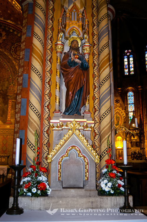 Budapest, Hungary.  Interior of the Matthias Church in Buda's Castle District.