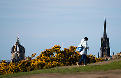 Tourist walking on Calton Hill with church spires in Edinburgh Old Town in distance, Scotland ,UK