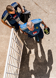 July 4, 2018 - Gelendzhik, Russia - 180704 Goalkeeper Karl-Johan Johnsson and head coach Janne Andersson of the Swedish national football team arrives prior a practice session during the FIFA World Cup on July 4, 2018 in Gelendzhik..Photo: Petter Arvidson / BILDBYRN / kod PA / 92081 (Credit Image: © Petter Arvidson/Bildbyran via ZUMA Press)