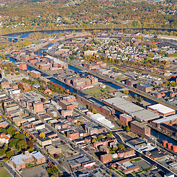 The Connecticut River as it flows through Holyoke, Massachusetts.  Holyoke Canals.
