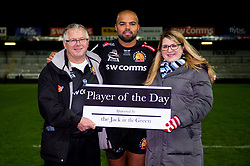 Tom O'Flaherty of Exeter Chiefs with his Player of the Day sponsors after the final whistle of the match - Mandatory by-line: Ryan Hiscott/JMP - 30/11/2019 - RUGBY - Sandy Park - Exeter, England - Exeter Chiefs v Wasps - Gallagher Premiership Rugby