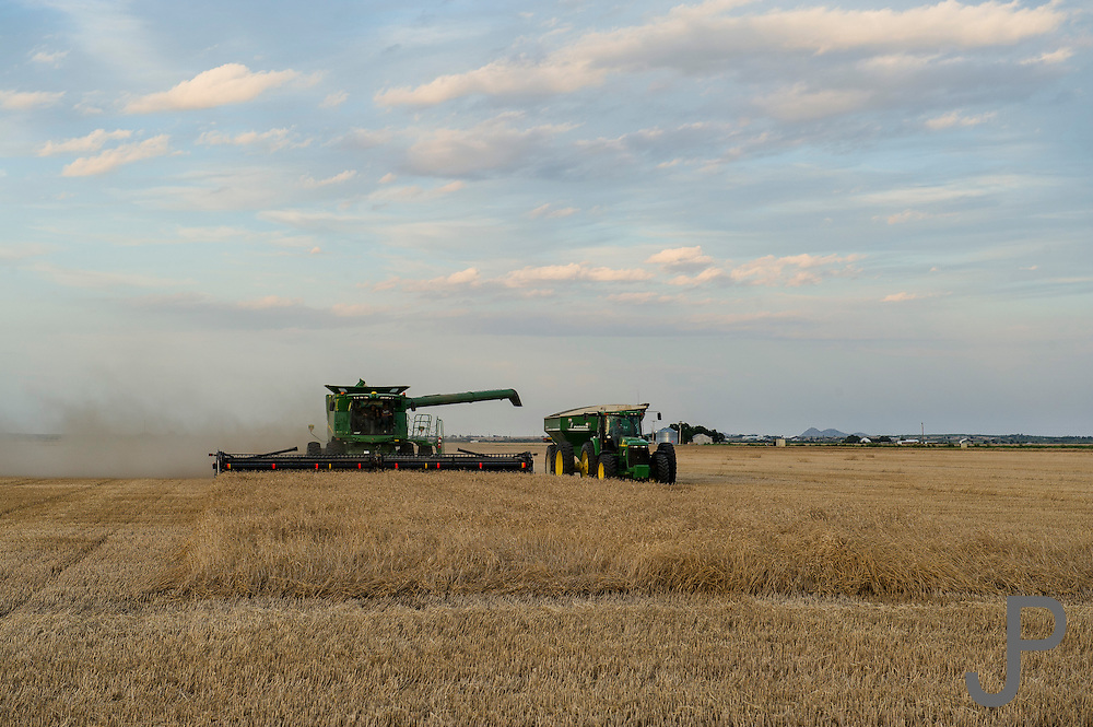 Wheat harvest story for Oklahoma Today. John and Martha Barrett farm near Martha, Oklahoma during wheat harvest.