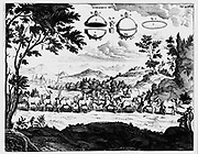Von Guericke's demonstration of power of vacuum, using Magdeburg hemispheres and two teams of horses. From Guericke 'Experimenta Nova', Amsterdam, 1672