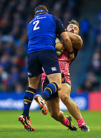 Rugby Union - 2017 / 2018 European Rugby Champions Cup - Pool Three: Leinster vs. Exeter Chiefs<br /> <br /> Exeter's Luke Cowan-Dickie is tackled by Leinster's Sean Cronin, at Aviva Stadium, Dublin.<br /> <br /> COLORSPORT/KEN SUTTON