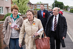 © Licensed to London News Pictures . 03/06/2014 . Newark , Nottinghamshire , UK . L-R Maria Eagle, Labour candidate Michael Payne and Stephen Pound campaigning in Newark today (Tuesday 3rd June 2014) ahead of the by-election due to take place on Thursday (5th June 2014) . Photo credit : Joel Goodman/LNP