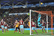 Burnley goalkeeper Thomas Heaton saves attempt at goal during the Sky Bet Championship match between Hull City and Burnley at the KC Stadium, Kingston upon Hull, England on 26 December 2015. Photo by Ian Lyall.