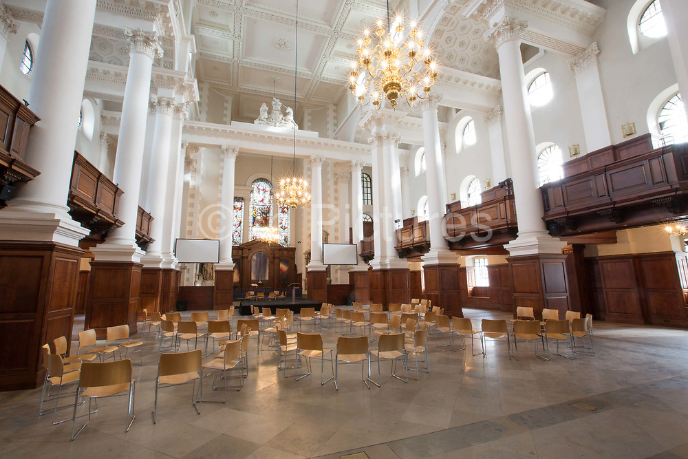 The interior of Christ Church Spitalfields on 14th October 2015 in London, United Kingdom. Christ Church Spitalfields, is an Anglican church built between 1714 and 1729 to a design by Nicholas Hawksmoor.