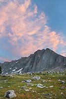 Alpenglow and moon over Dragon Head Peak  Bridger Wilderness. Wind River Range, Wyoming