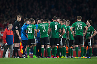 Lincoln City manager Danny Cowley talks to his team after they go 3-0 down       <br /> <br /> <br /> Photographer Craig Mercer/CameraSport<br /> <br /> The Emirates FA Cup Sixth Round - Arsenal v Lincoln City - Saturday 11th March 2017 - The Emirates - London<br />  <br /> World Copyright © 2017 CameraSport. All rights reserved. 43 Linden Ave. Countesthorpe. Leicester. England. LE8 5PG - Tel: +44 (0) 116 277 4147 - admin@camerasport.com - www.camerasport.com