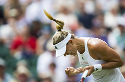 LONDON, July 5, 2017  Angelique Kerber of Germany celebrates after scoring during the women's singles first round match against Irina Falconi of the United States at the Championship Wimbledon 2017 in London, Britain, on July 4, 2017. Kerber won 2-0. (Credit Image: © Jin Yu/Xinhua via ZUMA Wire)
